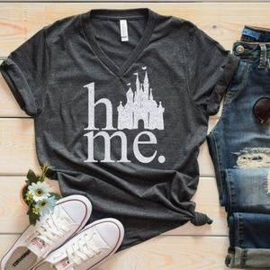 Theme Park HOME Castle Tee - Grey Silver NEW